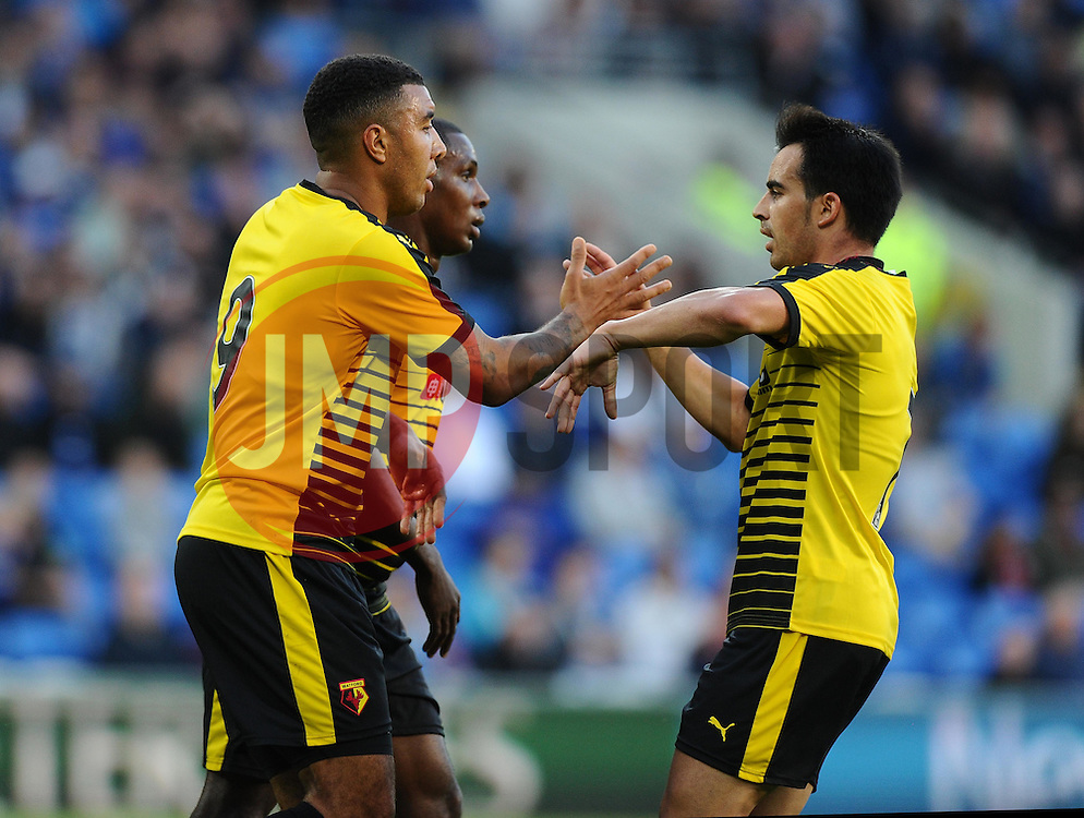 Troy Deeney of Watford scores  - Mandatory by-line: Joe Meredith/JMP - 07966386802 - 28/07/2015 - SPORT - FOOTBALL - Cardiff,Wales - Cardiff City Stadium - Cardiff City v Watford - Pre-Season Friendly