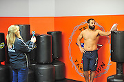 Johny Hendricks during standup training at Velociti Fitness on February 26, 2014 in Pantego, Texas.