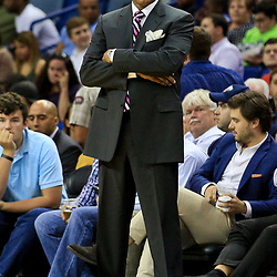 Oct 4, 2016; New Orleans, LA, USA;  New Orleans Pelicans head coach Alvin Gentry during the second quarter of a game against the Indiana Pacers at the Smoothie King Center. Mandatory Credit: Derick E. Hingle-USA TODAY Sports