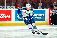 KELOWNA, BC - OCTOBER 16:  Aiden Bulych #23 of the Swift Current Broncos warms up with the puck against the Kelowna Rockets at Prospera Place on October 16, 2019 in Kelowna, Canada. (Photo by Marissa Baecker/Shoot the Breeze)