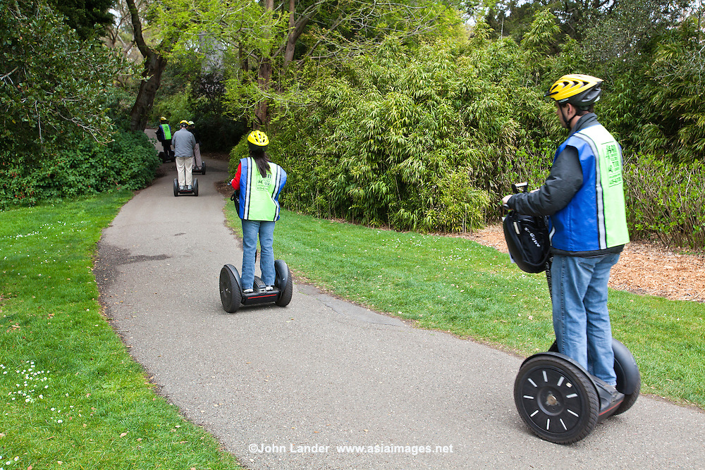 Glide through 1,000  acres of Golden Gate Park on a nifty Segway.  Why kill yourself walking over seven miles of Golden Gate Park's landscaped roads, trails and lanes.  Other popular methods of cruising the park is by bicycle and roller skates.