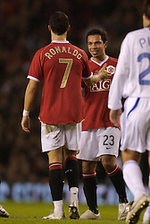 Manchester, England - Tuesday, March 13, 2007: Manchester United's Christiano Ronaldo celebrates scoring the third goal from a free kick against Europe XI, with his team-mates Paul Scholes and Kieran Richardson, during the UEFA Celebration Match at Old Trafford. (Pic by David Rawcliffe/Propaganda)