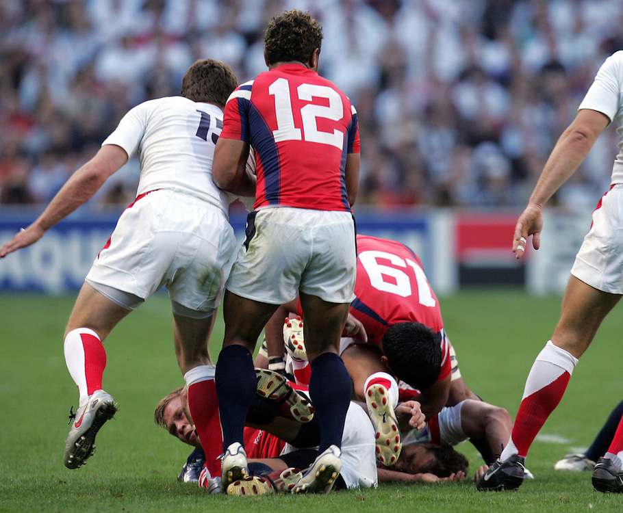 Olly Barkley is crushed at the bottom of the pack after being spear tackled. England v USA, Rugby World Cup 2007, Lens, France, 8th September 2007.