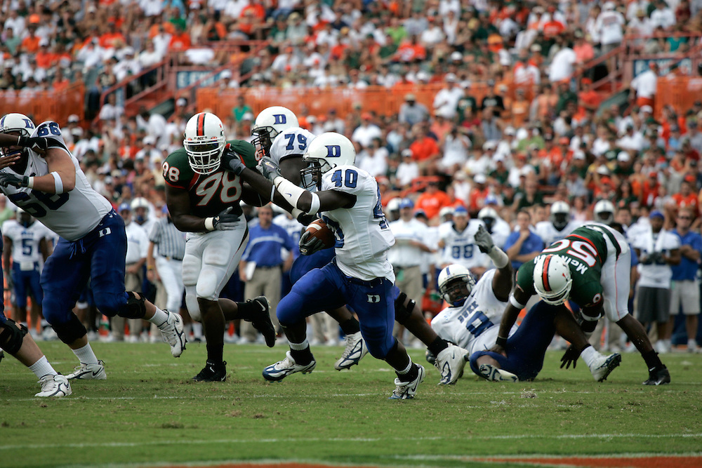 DUKE FOOTBALL @ Miami, October 8, 2005.
