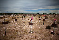 Grave markers for unidentified murder victims in a cemetery in Ciudad Juarez.