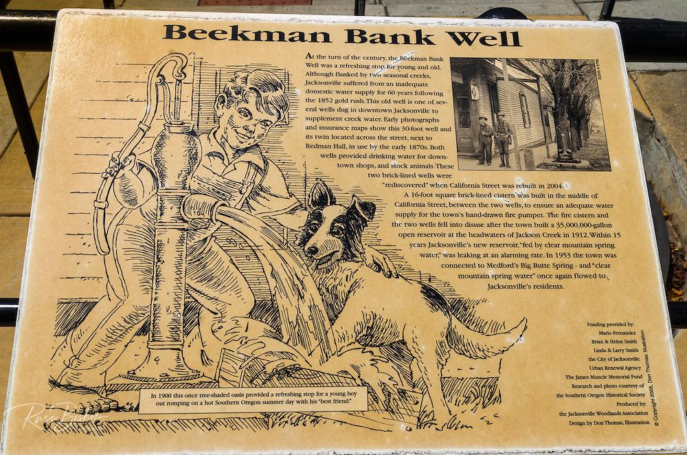 Interpretive sign at the Beekman Bank Well, Jacksonville, Oregon USA
