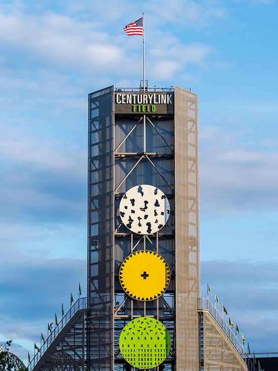 United States, Washington, Seattle, clock tower and flagpole of Safeco Field stadium
