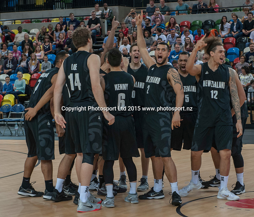 25.07.2015. London England. Basketball test match. Great Britain versus New Zealand.  The Tall Blacks come out of the huddle for the Haka.