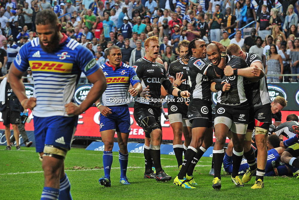 Sharks players celebrate a winning try scored by Joe Pietersen of the Sharks in the closing stages during the 2016 Super Rugby match between the Stormers and the Sharks at Newlands Stadium, Cape Town on 12 March 2016 ©Ryan Wilkisky/BackpagePix