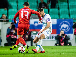 Petar Stojanović of Slovenia vs Enis Bardi of Macedonia during football match between National teams of Slovenia and North Macedonia in Group G of UEFA Euro 2020 qualifications, on March 24, 2019 in SRC Stozice, Ljubljana, Slovenia.  Photo by Matic Ritonja / Sportida