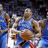 19 June 2012: Oklahoma City Thunder point guard Russell Westbrook (0) goes to the basket during the first quarter of Game 4 of the 2012 NBA Finals, Thunder at Heat, at the AmericanAirlinesArena, Miami, Florida, USA.