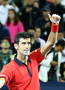 18.10.2015. Shanghai, China. Novak Djokovic of Serbia celebrates victory against Jo-Wilfried Tsonga of France during their mens singles final match at the Shanghai Masters tennis tournament in Shanghai, China, Oct. 18, 2015. Novak Djokovic won 2-0 and claimed the title.