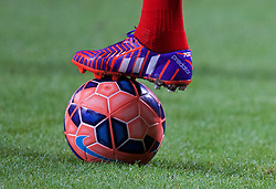BOLTON, ENGLAND - Wednesday, February 4, 2015: The Adidas boot of Liverpool's captain Steven Gerrard on his 700th game for the Reds before the FA Cup 4th Round Replay match against Bolton Wanderers at the Reebok Stadium. (Pic by David Rawcliffe/Propaganda)
