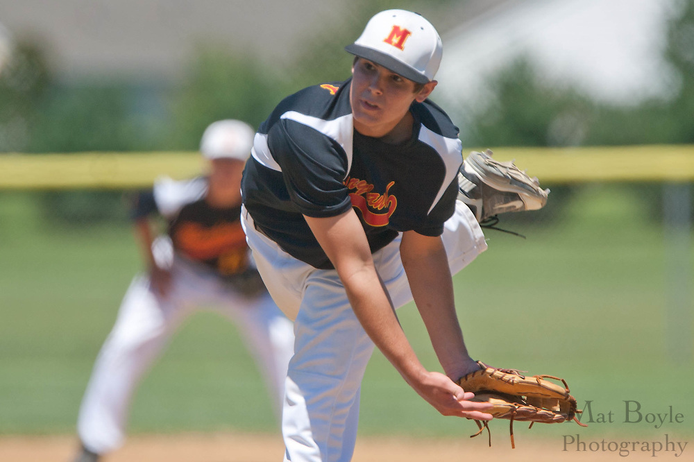 Maryland's Brian Delaney pitches in the first inning during the winner take all final of the Eastern Regional Senior League tournament between Pennsylvania and Maryland held in West Deptford on Thursday, August 11.