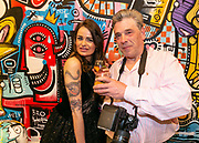 Opening van de duo tentoonstelling Loes van Delft en David Stesner bij de Cobra Art Gallery in Amsterdam. Op de foto: Loes van Delft en Martin van Os