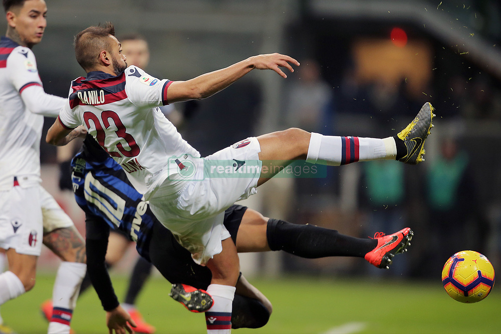February 3, 2019 - Milan, Milan, Italy - Larangeira Danilo #23 of Bologna FC competes for the ball with Lautaro Martinez #10 of FC Internazionale Milano during the serie A match between FC Internazionale and Bologna FC at Stadio Giuseppe Meazza on February 3, 2019 in Milan, Italy. (Credit Image: © Giuseppe Cottini/NurPhoto via ZUMA Press)