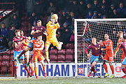 Shrewsbury Town goalkeeper Dean Henderson (1) comes to claim the ball during the EFL Sky Bet League 1 match between Scunthorpe United and Shrewsbury Town at Glanford Park, Scunthorpe, England on 17 March 2018. Picture by Mick Atkins.