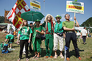 Supporters of Lega Nord (Northern League party) at a meeting in Pontida, Sunday, June 14, 2009. One's people wears a North America native's costume hat. ..