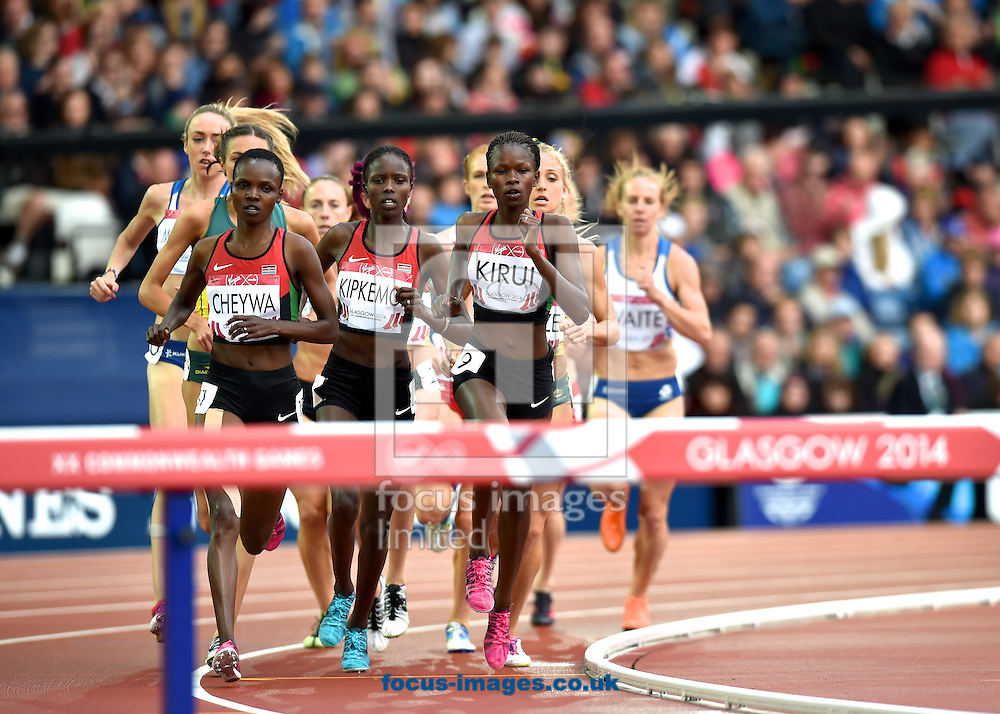 Milcah chemos Cheywa Kenya, Joan Kipkemoi Kenya and Purity cherotich Kirui Kenya  competing in the Women's 3000m Steeplechase on day four of the athletics  at Hampden Park, Glasgow<br /> Picture by Alan Stanford/Focus Images Ltd +44 7915 056117<br /> 29/07/2014