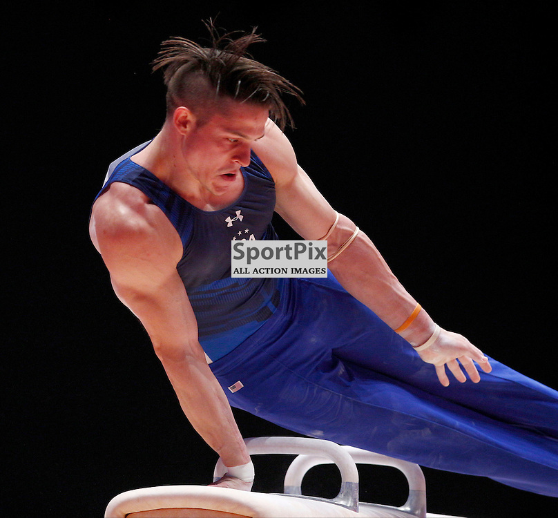 2015 Artistic Gymnastics World Championships being held in Glasgow from 23rd October to 1st November 2015....Christopher Brooks (USA) competing in the Pommel Horse competition..(c) STEPHEN LAWSON | SportPix.org.uk