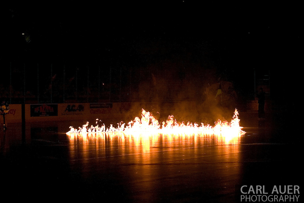 """17 February, 2006 - Anchorage, AK:  Flames erupt from the ice prior to the Alaska Aces 5-1 victory over the visiting Long Beach IceDogs at Sullivan Arena.  This season, the Alaska Aces theme is """"Ignite the Ice"""""""