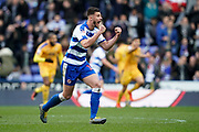 Matt Miazga of Reading celebrates Modou Barrow of Reading goal, Reading 2-2 Wigan Athletic during the EFL Sky Bet Championship match between Reading and Wigan Athletic at the Madejski Stadium, Reading, England on 9 March 2019.