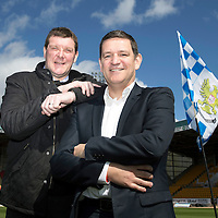 St Johnstone Manager Tommy Wright pictured with Chairman Steve Brown at McDiarmid Park today after the teams historic victory over Aberdeen yesterday which earned them a Scottish Cup Final date with Dundee Utd.<br /> Stevie May scores his first goal<br /> Picture by Graeme Hart.<br /> Copyright Perthshire Picture Agency<br /> Tel: 01738 623350  Mobile: 07990 594431