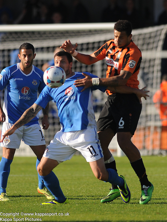 Barnets David Stephens, Holds of Eastleighs Craig McAllister, Barnet v Eastleigh, Vanarama Conference, Saturday 4th October 2014