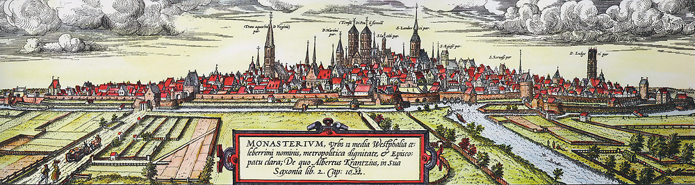 Panoramic view of the city of Munster, Germany, from the south-west, c1570. Twin towers in centre are St Paul's Cathedral and to the right St Lambert's Church.