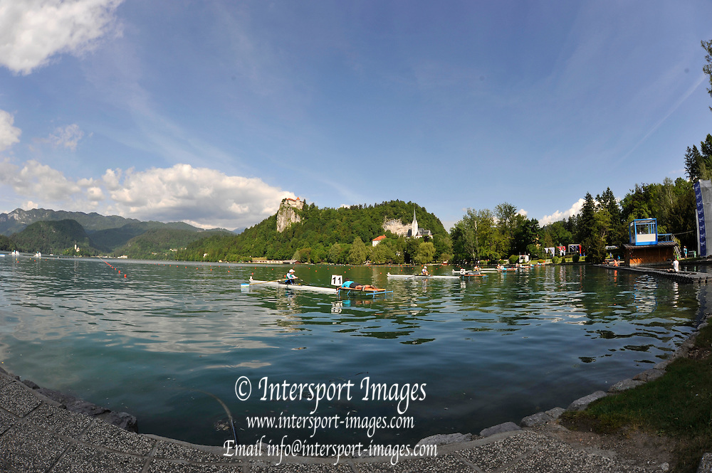 Bled, SLOVENIA,   General Views of the start area, . at the 1st FISA World Cup. Rowing Course. Lake Bled.  Friday  28/05/2010 [Mandatory Credit Peter Spurrier/ Intersport Images]