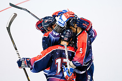 Team USA celebrate goal at IIHF In-Line Hockey World Championships 2011 Top Division Gold medal game between National teams of Czech republic and USA on June 25, 2011, in Pardubice, Czech Republic. (Photo by Matic Klansek Velej / Sportida)