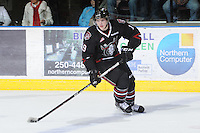 KELOWNA, CANADA - FEBRUARY 18: Brooks Maxwell #19 of the Red Deer Rebels skates with the puck as the Red Deer Rebels visit the Kelowna Rockets on February 18, 2012 at Prospera Place in Kelowna, British Columbia, Canada (Photo by Marissa Baecker/Shoot the Breeze) *** Local Caption ***