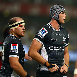 DURBAN, SOUTH AFRICA - MARCH 26: Lourens Adriaanse with Stephan Lewies of the Cell C Sharks during the Super Rugby match between Cell C Sharks and BNZ Crusaders at Growthpoint Kings Park on March 26, 2016 in Durban, South Africa. (Photo by Steve Haag)<br /> <br /> images for social media must have consent from Steve Haag