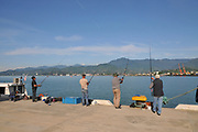 Fishing at the Batumi sea port, Georgia