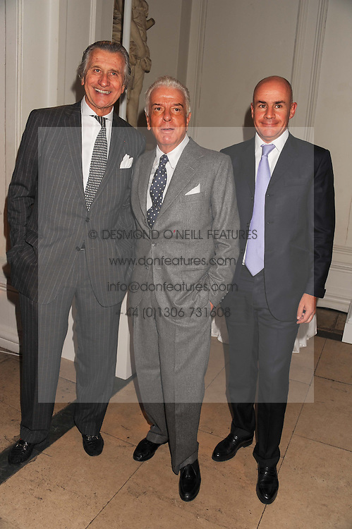 Left to right, ARNAUD BAMBERGER Executive Chairman of cartier UK, NICKY HASLAM and JOHAN ELIASCH at a reception to present the new Cartier Tank Watch Collection held at The Orangery, Kensington Palace Gardens, London W8 on 19th April 2012.