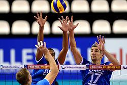 02-10-2013 VOLLEYBAL: WK KWALIFICATIE MANNEN WIT RUSLAND / NEDERLAND: ALMERE<br /> Blok van Nimir Abdelaziz , Rob Bontje<br /> ©2013-FotoHoogendoorn.nl