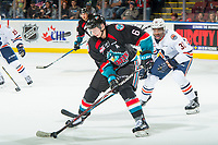 KELOWNA, CANADA - SEPTEMBER 22:  Kaedan Korczak #6 of the Kelowna Rockets skates with the puck against the Kamloops Blazers  on September 22, 2018 at Prospera Place in Kelowna, British Columbia, Canada.  (Photo by Marissa Baecker/Shoot the Breeze)  *** Local Caption ***