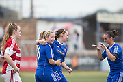 Forfar Farmington's Robyn Smith is congratulated after scoring by Cheryl Kilcoyne and captain Nocila Davidson - Forfar Farmington v Hamilton Academical in the SWPL Premier League One at Station Park, Forfar, <br /> <br /> <br />  - &copy; David Young - www.davidyoungphoto.co.uk - email: davidyoungphoto@gmail.com