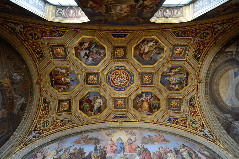 Ceiling frescoes in the Sala dell'Immacolata in the Vatican Museum.