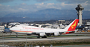 LOS ANGELES, CALIFORNIA, USA - JANUARY 28, 2013 - Yangtze River Express Boeing 747 takes-off from Los Angeles Airport on January 28, 2013. It is a converted  freighter by Israel Aerospace Industries.