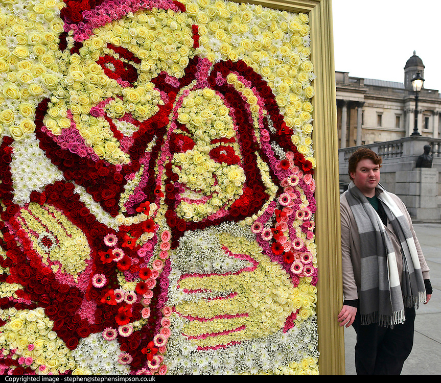 © Licensed to London News Pictures. 13/02/2013. Westminster, UK Asda partners with RHS Chelsea winner, Joseph Massie (pictured), to a create floral portrait of the Duke and Duchess of Cambridge in Trafalgar Square London today 13th February 2013. Photo credit : Stephen Simpson/LNP