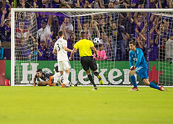 April 21, 2018 - Orlando, FL, U.S. - ORLANDO, FL - APRIL 21: Orlando City midfielder Sacha Kljestan (16) scores Orlando City 2nd goal during the MLS soccer match between the Orlando City FC and the San Jose Earthquakes at Orlando City SC on April 21, 2018 at Orlando City Stadium in Orlando, FL. (Photo by Andrew Bershaw/Icon Sportswire) (Credit Image: © Andrew Bershaw/Icon SMI via ZUMA Press)