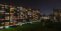Résidence de la Tourelle night time long exposure, Le Petit-Saconnex, Geneva, Switzerland.