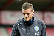 Jamie Vardy (9) of Leicester City on the pitch before the Premier League match between Bournemouth and Leicester City at the Vitality Stadium, Bournemouth, England on 30 September 2017. Photo by Graham Hunt.