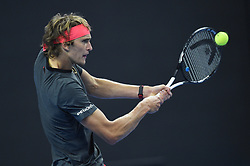 BEIJING, Oct. 2, 2018  Alexander Zverev of Germany hits a return during the men's singles first round match against Roberto Bautista Agut of Spain at China Open tennis tournament in Beijing, China, Oct. 2, 2018. Alexander Zverev won 2-0. (Credit Image: © Ju Huanzong/Xinhua via ZUMA Wire)