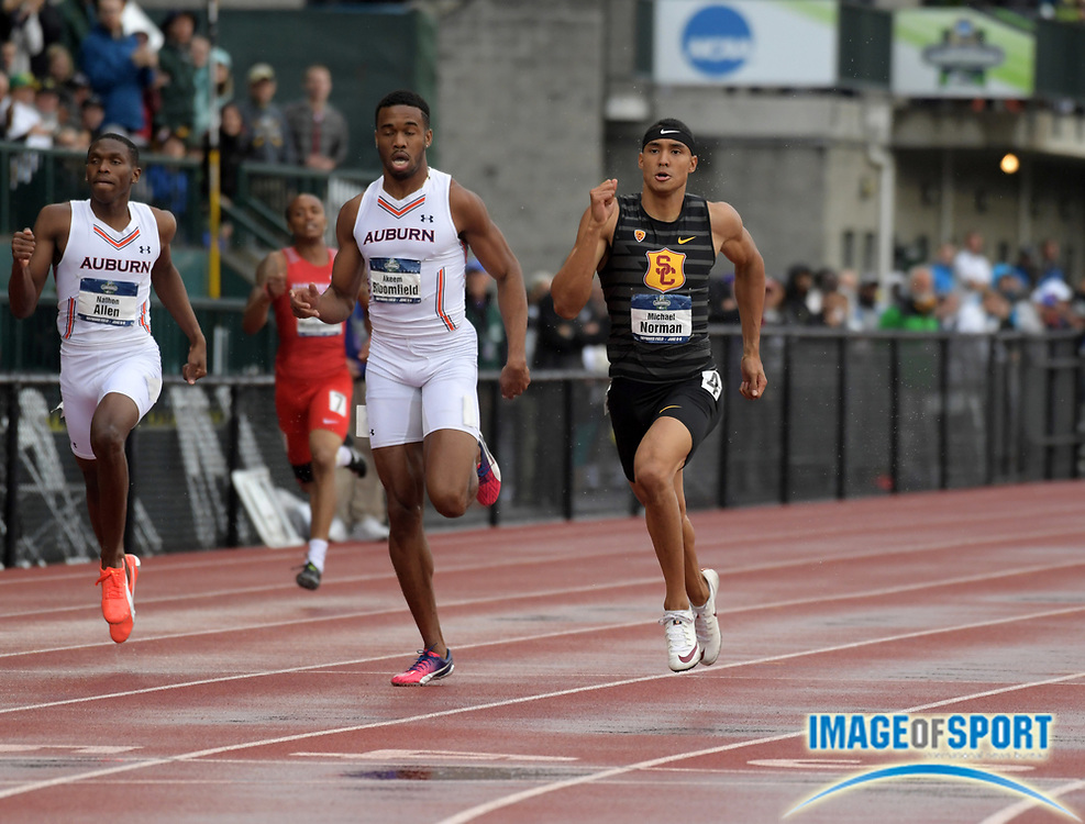Jun 8, 2018; Eugene, OR, USA; Michael Norman of Southern California defeats Akeem Bloomfield and Nathon Allen of Auburn to win the 400m in a collegiate record 43.61 during the NCAA Track and Field championships at Hayward Field. Bloomfield was second in 43.94 and Allen was third in 44.13.