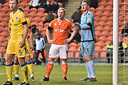 Blackpool Forward, Mark Cullen (9) and  during the EFL Sky Bet League 1 match between Blackpool and Bristol Rovers at Bloomfield Road, Blackpool, England on 3 November 2018.