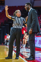 NORMAL, IL - November 05:  Abby Burmeister speaks with Theo Dean during a college women's basketball game between the ISU Redbirds and the Truman State Bulldogs on November 05 2019 at Redbird Arena in Normal, IL. (Photo by Alan Look)