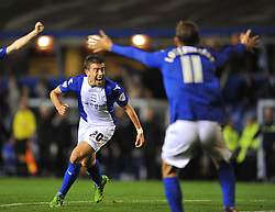 Birmingham City's Oliver Lee celebrates his goal to make it 4-4 -  - Photo mandatory by-line: Alex James/JMP - Tel: Mobile: 07966 386802 29/10/2013 - SPORT - FOOTBALL - ST Andrew's - Birmingham - Birmingham City v Stoke City - Capital One Cup - Forth Round