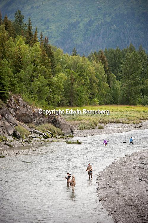 Salmon fishing on Bird Creek in Chugach Park Alaska